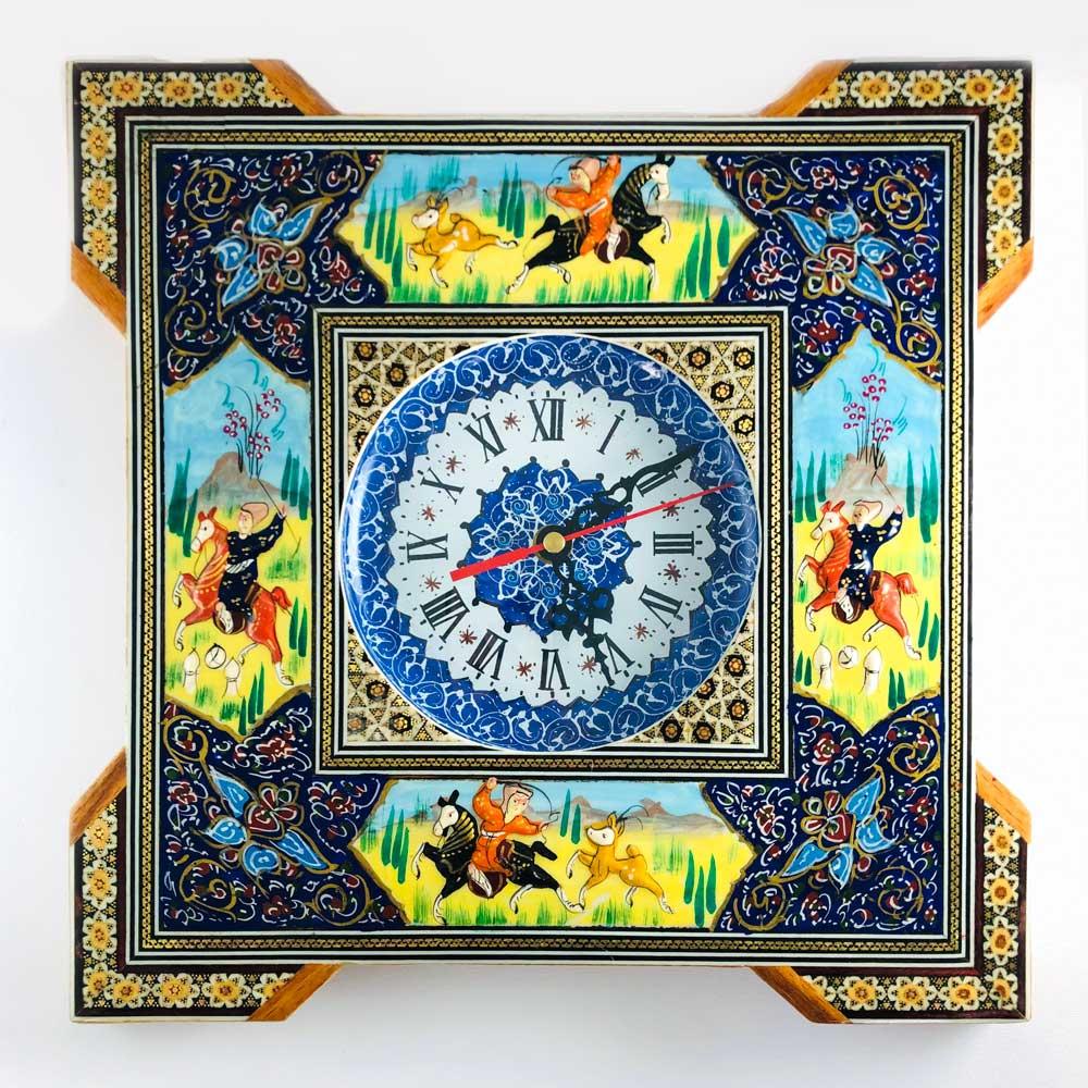 ساعت خاتم کاری مربع دور نقاشی پلاک 16 سانت