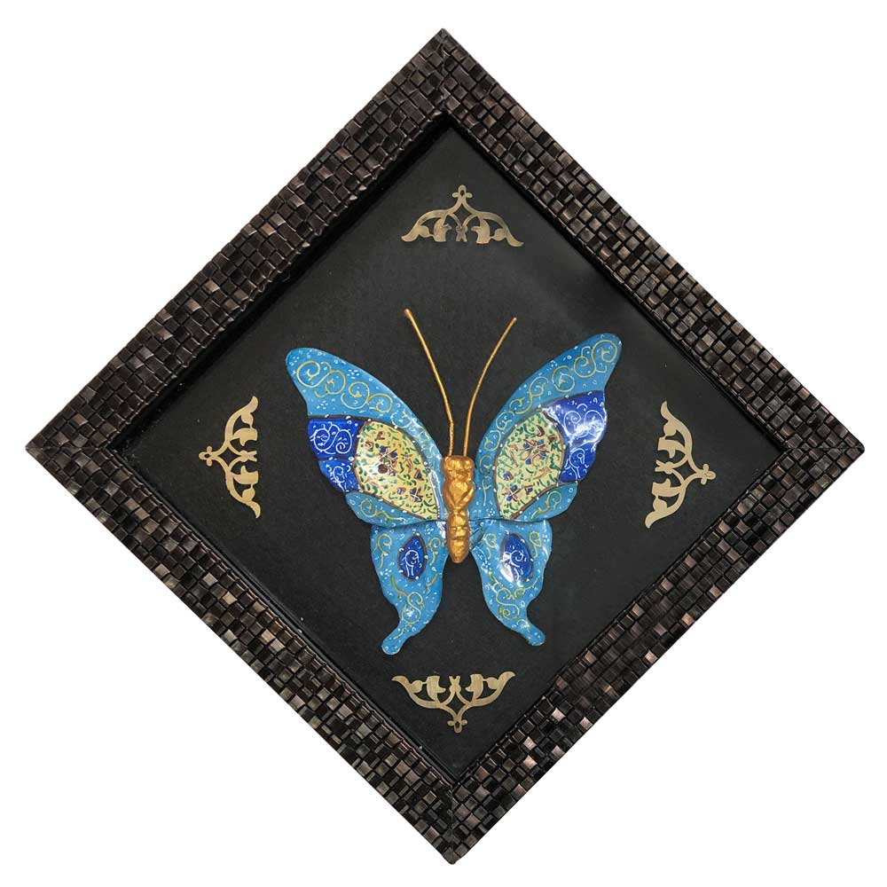 قاب با پلاک میناکاری مدل پروانه سایز متوسط