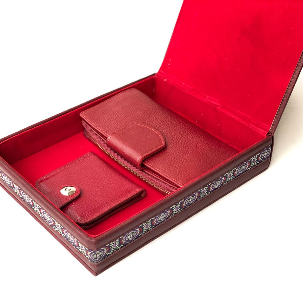 ست کیف پول چرم و آینه زنانه کد set-135