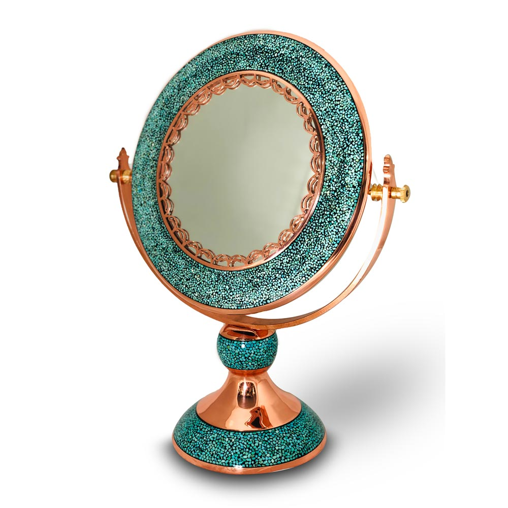 آینه فیروزه کوبی مدل گرد قطر 25 سانتی